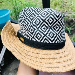 Accessories - BOHEMIAN SUN HAT• black white woven sun hat